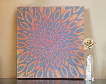 Distressed Ombre Modern Floral Wood Panel