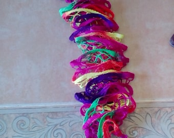 Multi colored ruffled scarf
