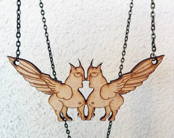 Greek Sphinx Face-off  Necklace