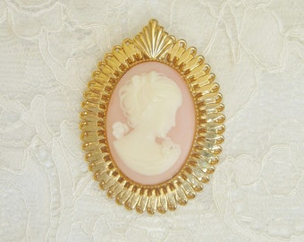 Vintage Cameo Brooch, Gold Tone Brooch, Pink and White Cameo Vintage Brooch