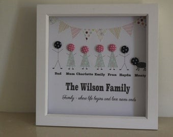 Handmade, personalised button family frame, Button frame, Button art