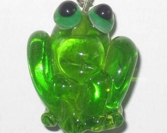 Lime Green FROG Handmade Lampwork Glass Focal Bead Gwen SRA Art Sculpture