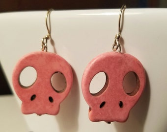 Pink Howlite Skull Earrings
