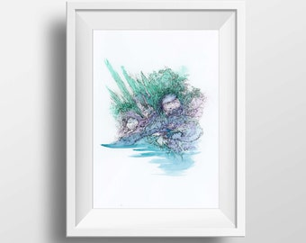 5 x 7 Abstract Landscape Art Print // Blue Green Purple Watercolor // Limited Edition Giclée Art Print, Wall Art, Surrealism Ink Drawing