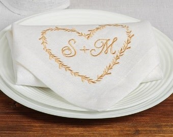 12 Personalized wedding napkins, Monogrammed Placemats, Personalized Linen Napkins, Monogrammed Gifts for Her, Embroidered Cloth Napkins