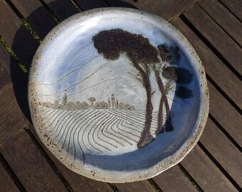 Stoneware platter with ash glaze