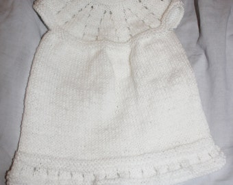 Handmade Knitted White Baby Dress