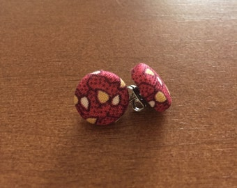 Maroon Leaf Fabric Button Earrings