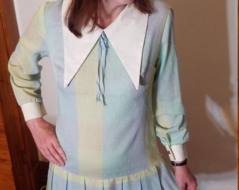 1960s Does 1920s Pastel, Plaid & Pleated Dress