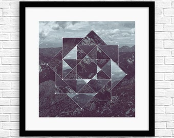 Square Matrix Mountains III - Sacred Geometry - Framed Art - SR-SM-M-M9