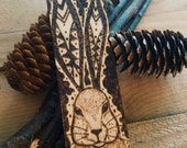 Woodburning Pyrography Wooden Bookmark Rabbit , Rabbit Art , Rabbit Spirit Animal , For a Bookworm , Book Accessory , Woodland Art ,