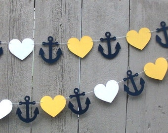 Nautical Anchor garland, Anchor and Heart garland, Nautical party decorations, Navy Blue, Nautical party, Wedding shower, Baby shower