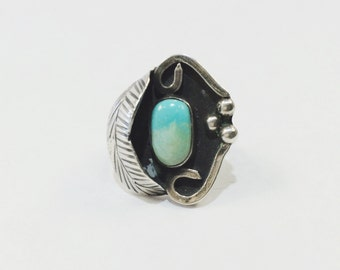Native American Feather Turquoise Color Ring