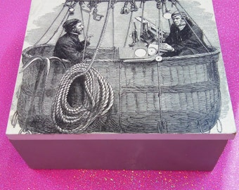 vintage hot air balloon illustration decorated litte wooden box - great male gift - small storage - bits and bobs box