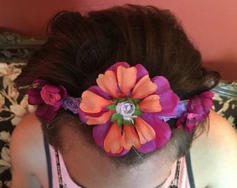 Flower headband-orange and purple color scheme