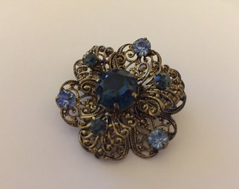 Blue Flower Brooch vintage