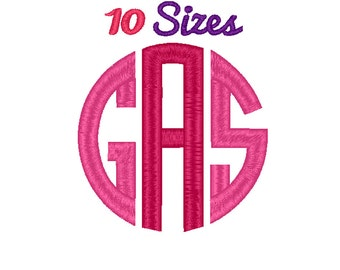 Circle Monogram Embroidery Font Machine Embroidery Fonts File Pack Set 10 Sizes Digital Embroidery Design