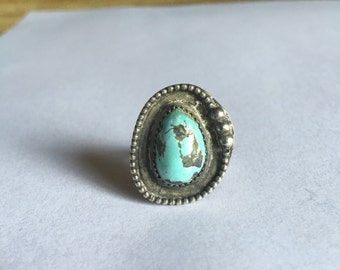 Vintage sky blue turquoise Sterling silver ring