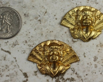 Raw Brass Stamping Art Nouveau Geisha Brass Lady Scrapbook Hardware Jewelry Craft Supplies BS109
