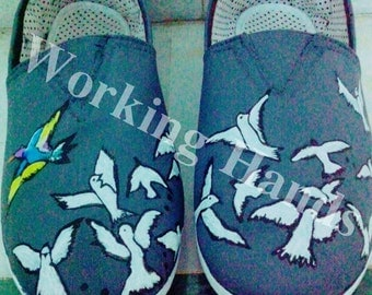 Hand Painted Canvas Shoes - Birds