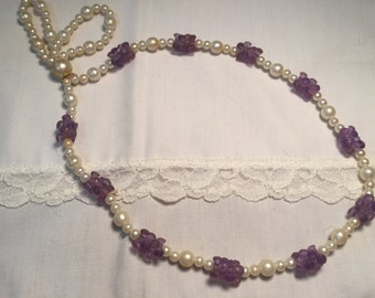 Vintage Beaded White and Purple Necklace - Small