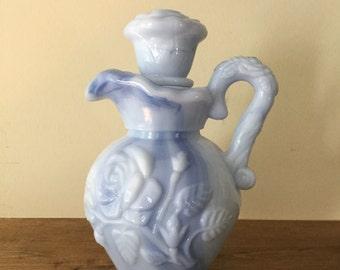 Vintage Avon Blue Milk glass Pitcher