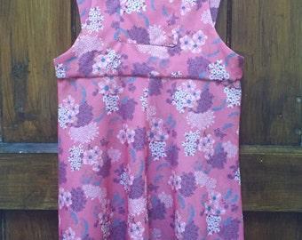 Vintage 70s Dungaree Pink Dress