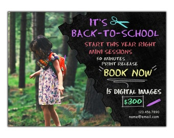Instant Download! Back to School! Digital Advertising Board! Template flyers photography sessions