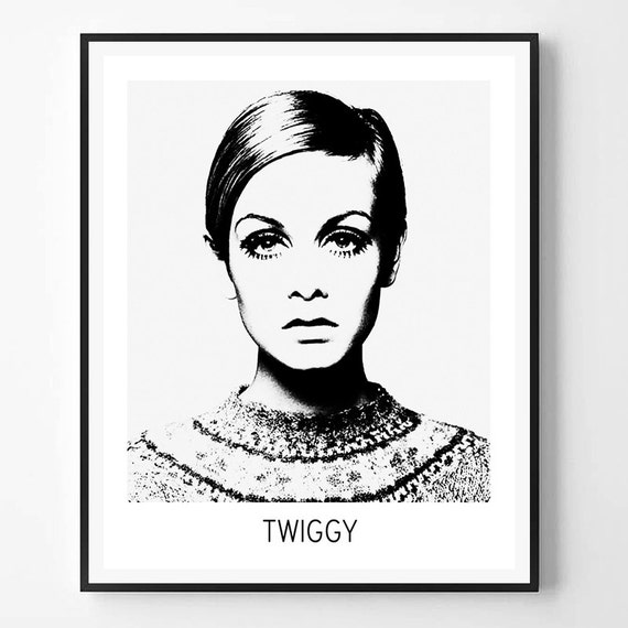 Twiggy print twiggy photo celebrity print black and white for Black and white celebrity prints
