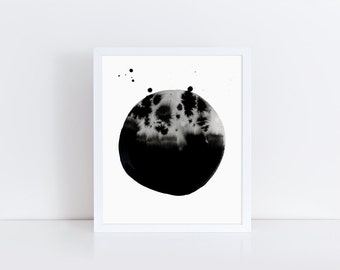 Instant download - dramatic monochrome ink art