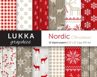 Nordic Christmas digital paper pack; Scandinavian Christmas pattern; seasonal background; red, white and beige; wood texture