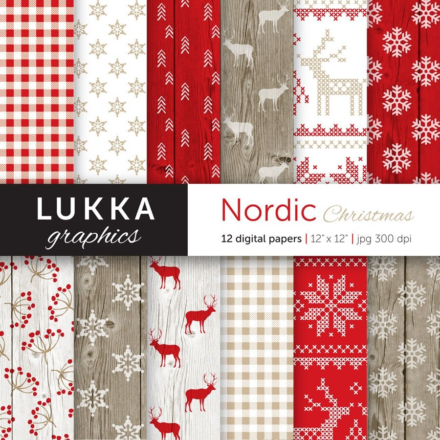 Nordic christmas ornaments - Nordic Christmas Digital Paper Pack Scandinavian Christmas Pattern Seasonal Background Red White