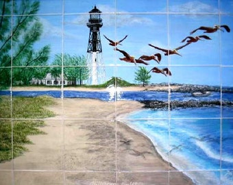 Lighthouse Ceramic Tile Murals and Tumbled Marble Murals