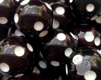 FREE P&P 6 x 16mm Black and White Polka Dot Acrylic Beads