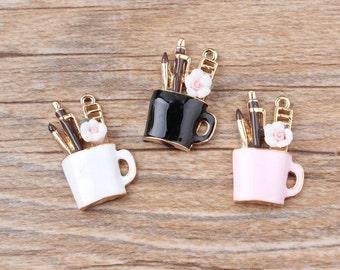 10PCS -Makeup Cup Charms -Enamel Charm -Night Charm -Kawaii Charm -Beautiful Girl Charm -Gift Idea -Black Charm