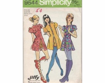 1970's Simplicity 9544 Misses Mini Dress & Shorts Vintage Sewing Pattern Size 12