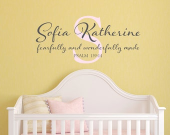 Monogram personalized name scripture bible verse name vinyl wall decal