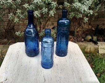 Vintage Wine Bottles, Blue Pressed Glass