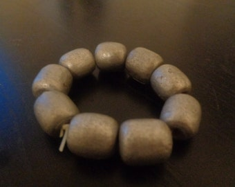 Silver Wooden Bead Bracelet