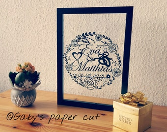 Personalized wedding anniversary - paper cut z hand drawn - hand cut -A4