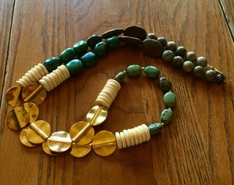 Gold Turquoise and Agate Necklace