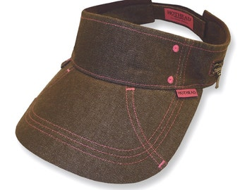 Hothead Womens Mens Wide Brim Custom Sun Visor Hat in Brown Denim
