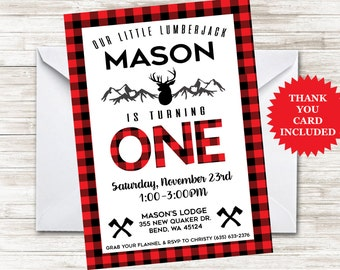 Lumberjack First Birthday Invite 5x7 Invitation Digital Personalized Flannel Mountain Deer