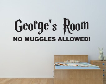 "Harry Potter Personalised Bedroom Wall Name Vinyl Decal / Sticker Sign ""No Muggles Allowed!"""