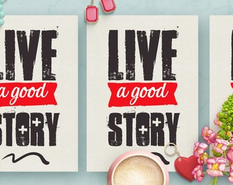 Live A Good Story Minimalist Card Template