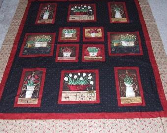 FLOWER BASKETS cotton quilt top