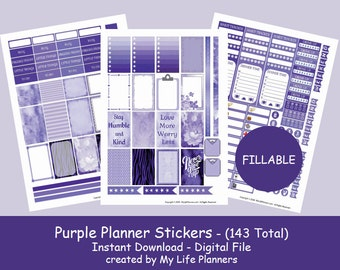 Purple Planner Stickers, Printable Planner Stickers, Scrapbook Stickers, Letter Size 8.5 x 11, Fillable, PDF Digital Download