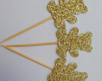 Glitter TeddyBear Cupcake Toppers/Cupcake Pokes. Set of Twelve. Birthday - Baby Shower