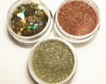 Golden Face Body Glitter Combo 3 Pack Holographic Festival Sparkle Pots