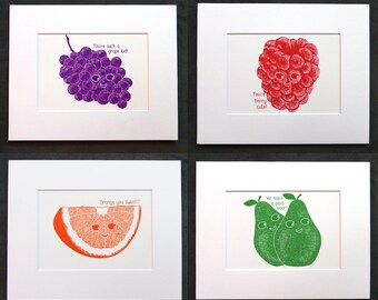 4 pack: Cute Fruits Puns Illustrations • Grape, Orange, Pear and Berry • Get 20% off when you purchase all 4 together!